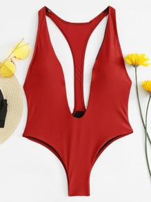 Red Plunge Neck One-Piece Swimwear