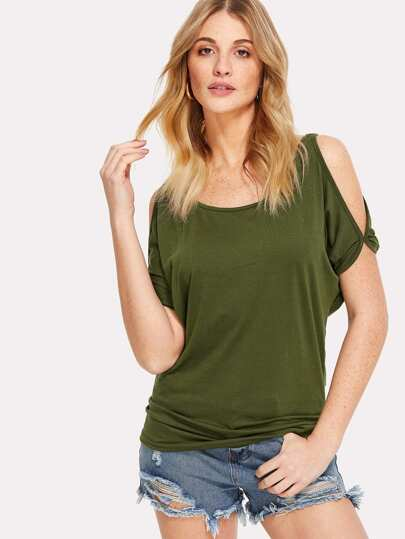 Open Shoulder Solid Dolman Top