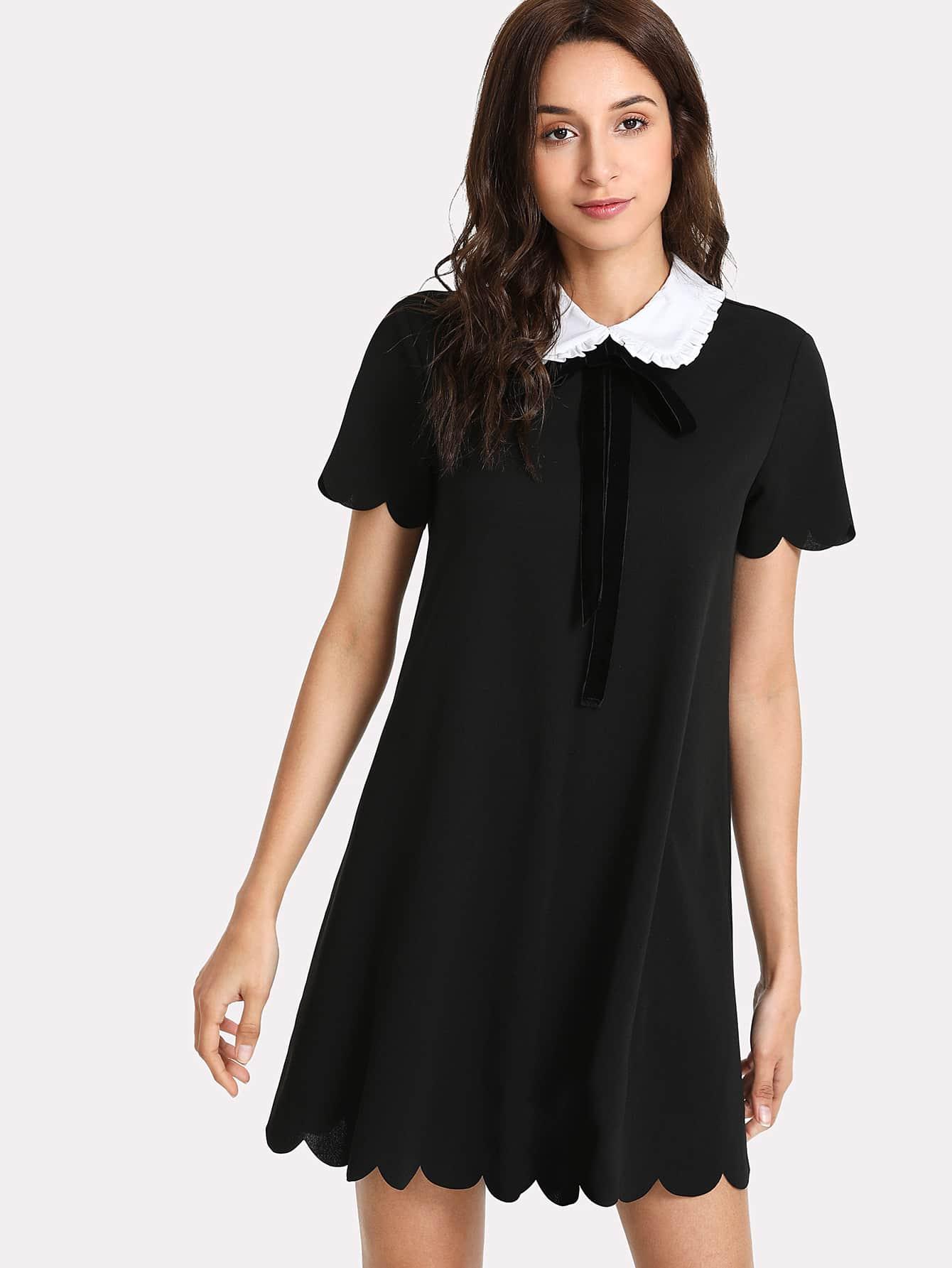 Contrast Collar Scallop Trim Dress contrast scallop trim balloon sleeve shirt