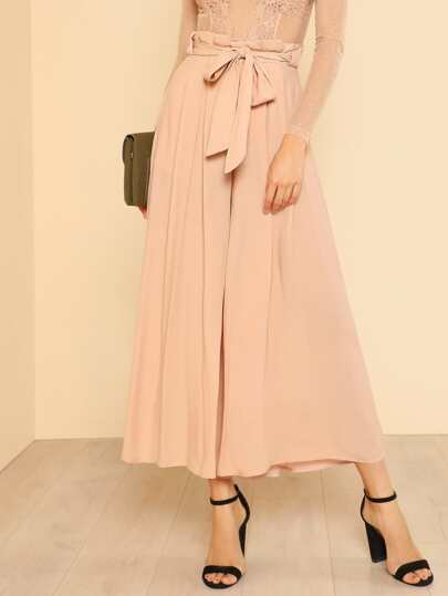 Tie Waist Frill Hem Wide Leg Pants BLUSH