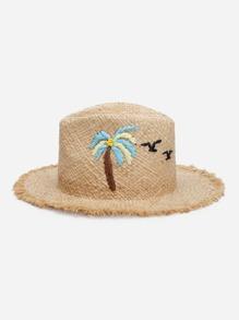 Palm Tree Pattern Raw Trim Straw Hat