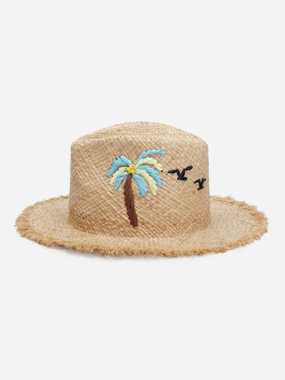 Palm Tree Pattern Raw Trim Straw Hat