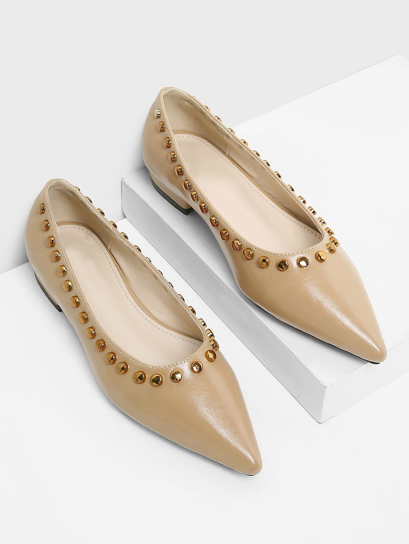 Studded Detail Pointed Toe Flats цена 2017
