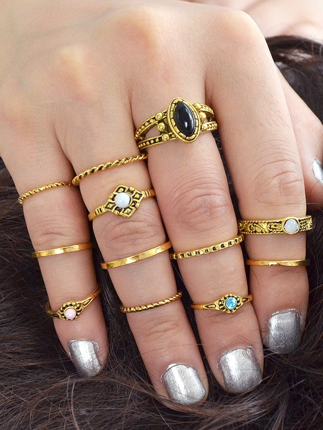 At-Gold 12Pcs/Set Knuckle Ring Stone Jewelry