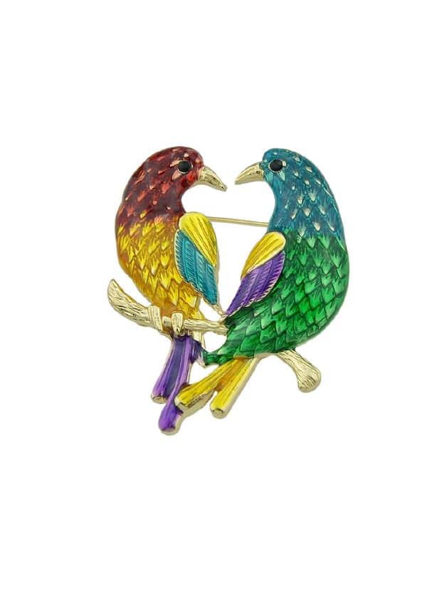 Enamel Branch Two Bird Brooch enamel colorful leaves bird brooch