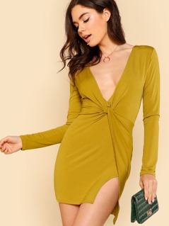 Deep V Twist Front Long Sleeve Dress YELLOW