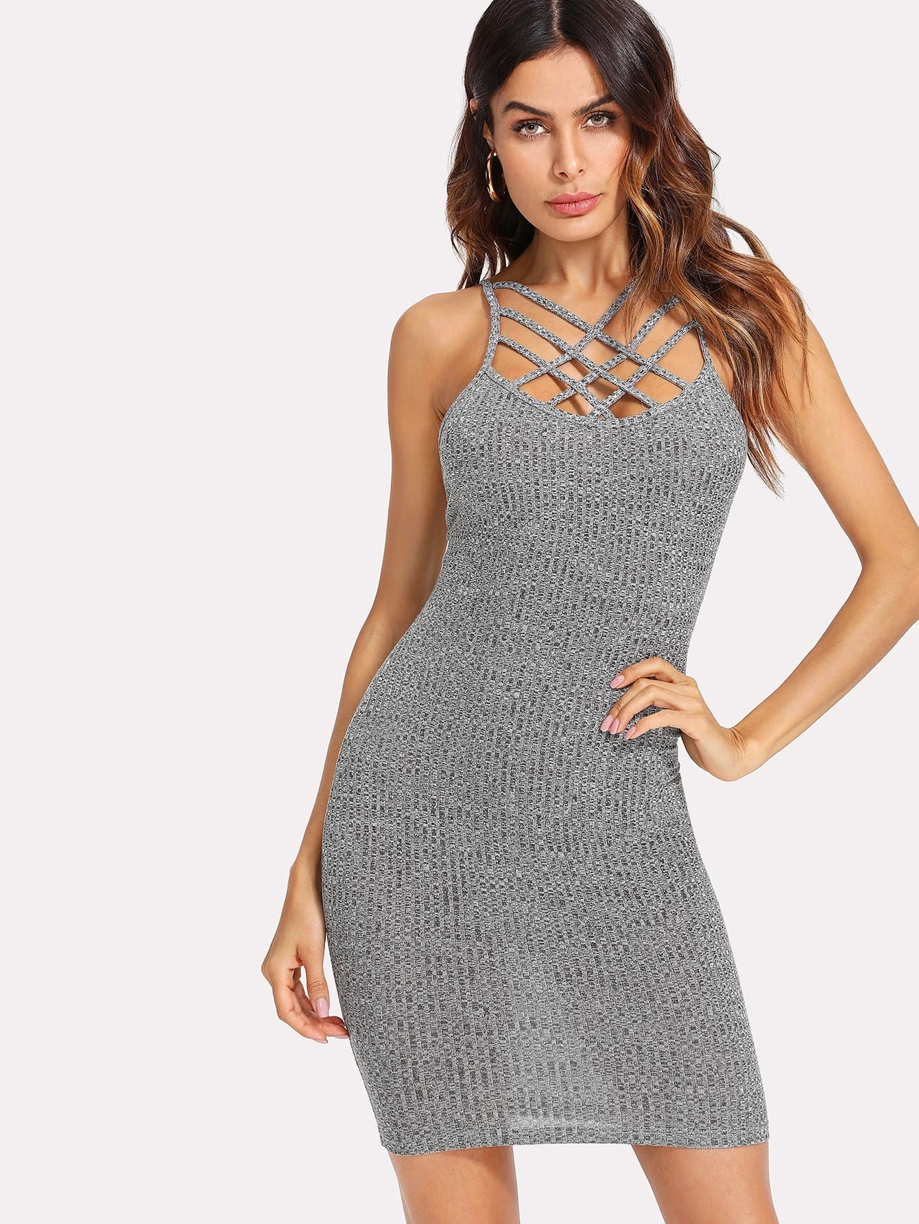 Strappy Front Backless Ribbed Marled Dress strappy backless club dress