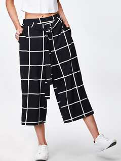 Self Belt Striped Wide Leg Pants