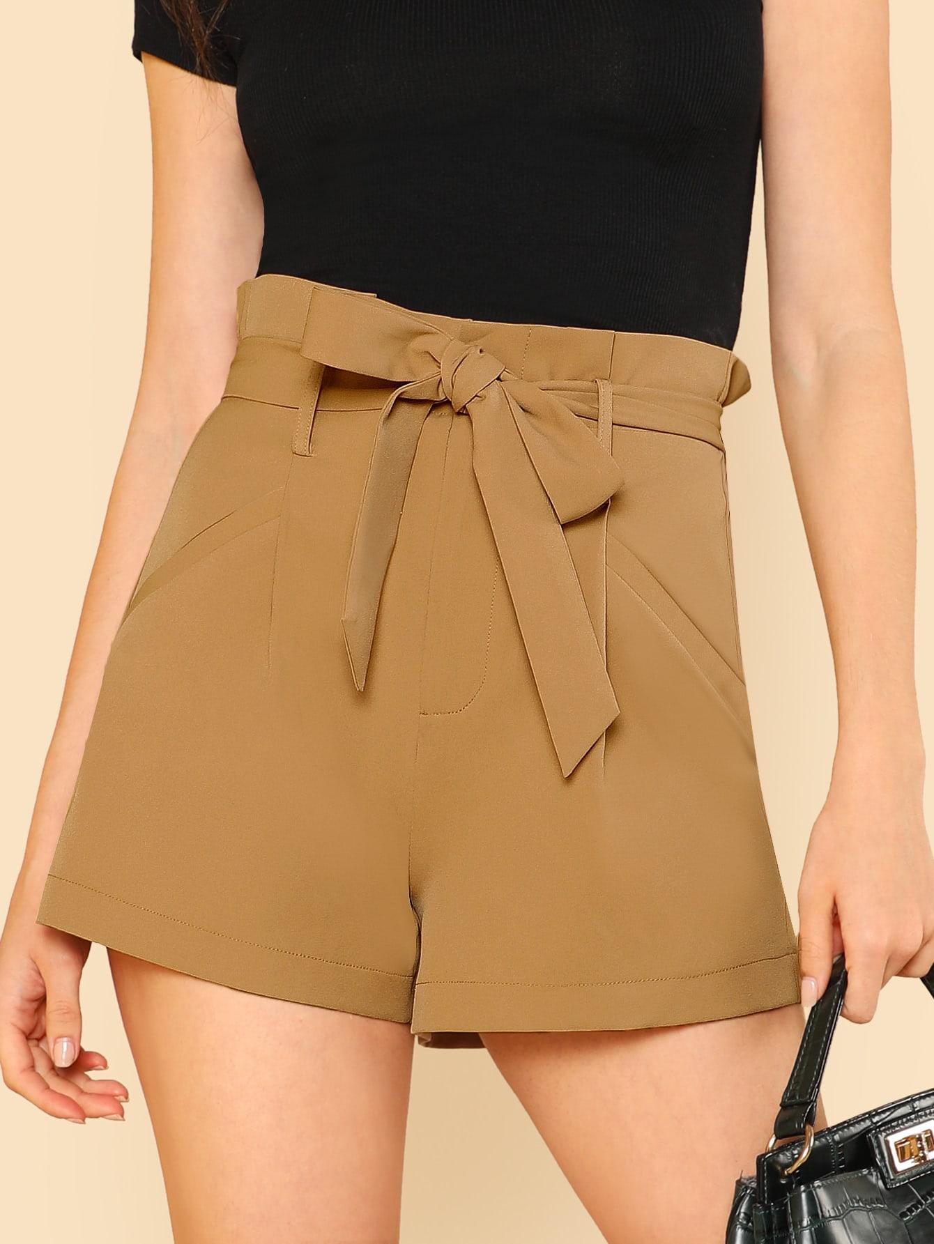 Купить Модные шорты с поясом, Aarika Wolf, SheIn
