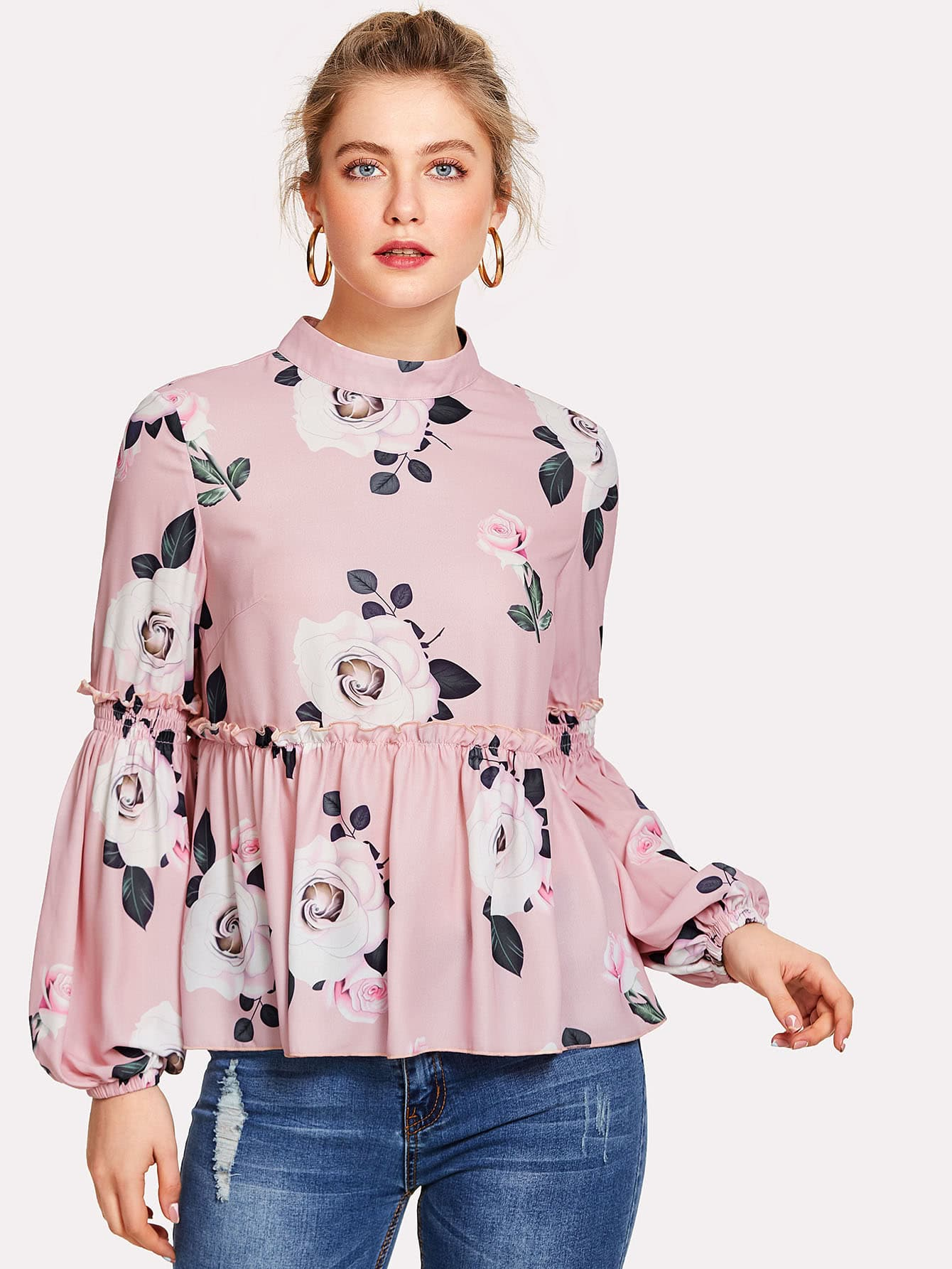 Bishop Sleeve Frill Detail Floral Blouse frill detail bishop sleeve tiered botanical dress