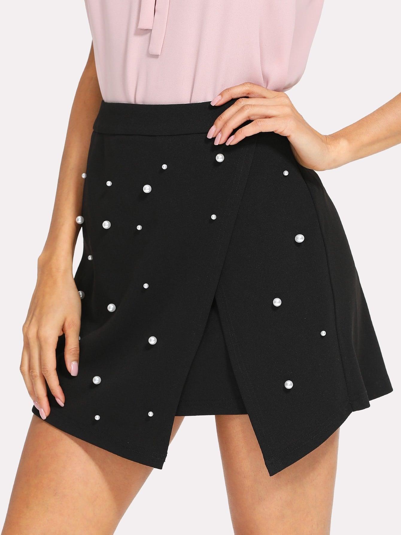 все цены на Pearl Detail Slit Hem Skirt