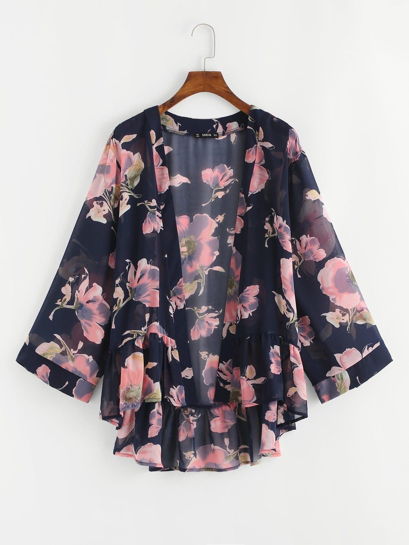 Flower Print Asymmetrical Ruffle Hem Kimono flower print ruffle hem top