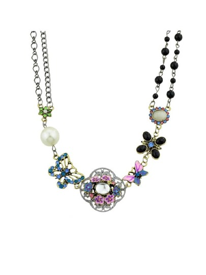 Pearl Flower Butterfly Necklace