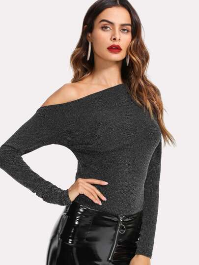Asymmetrical Shoulder Glitter Top