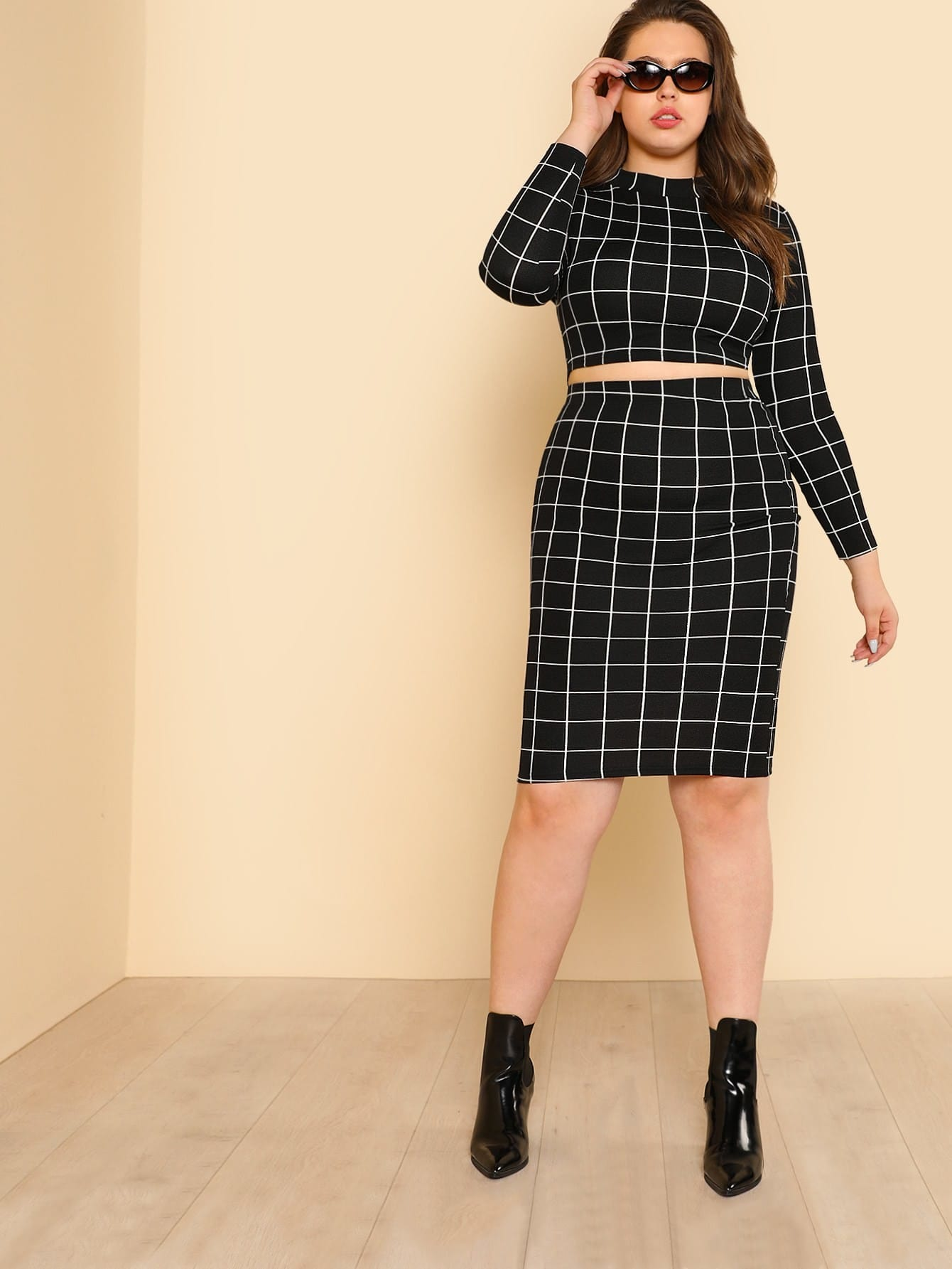 Grid Crop Top & Pencil Skirt faux suede crop top and pencil skirt