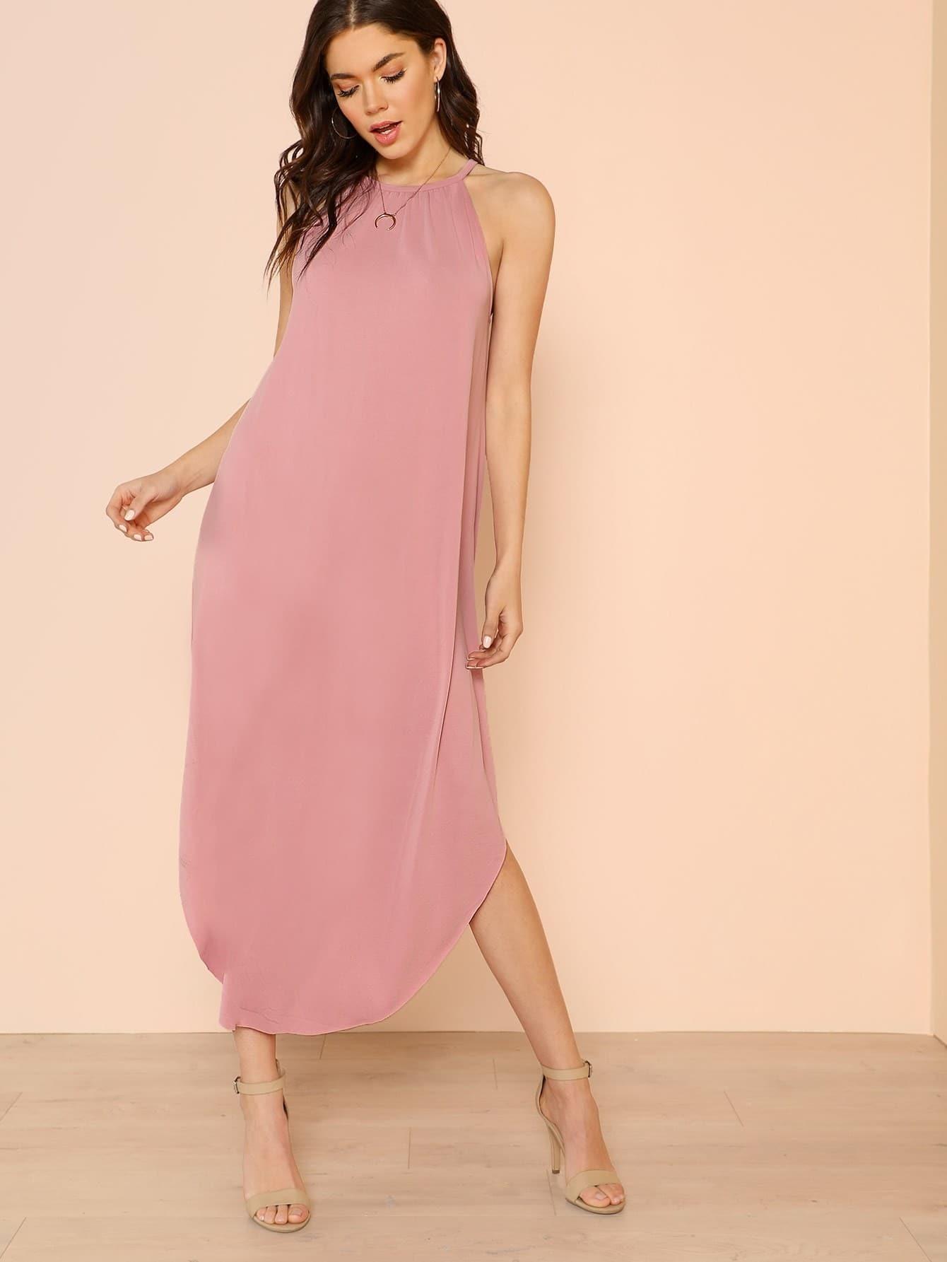Flowy High Neck Shirt Dress Dusty Pink Makemechic