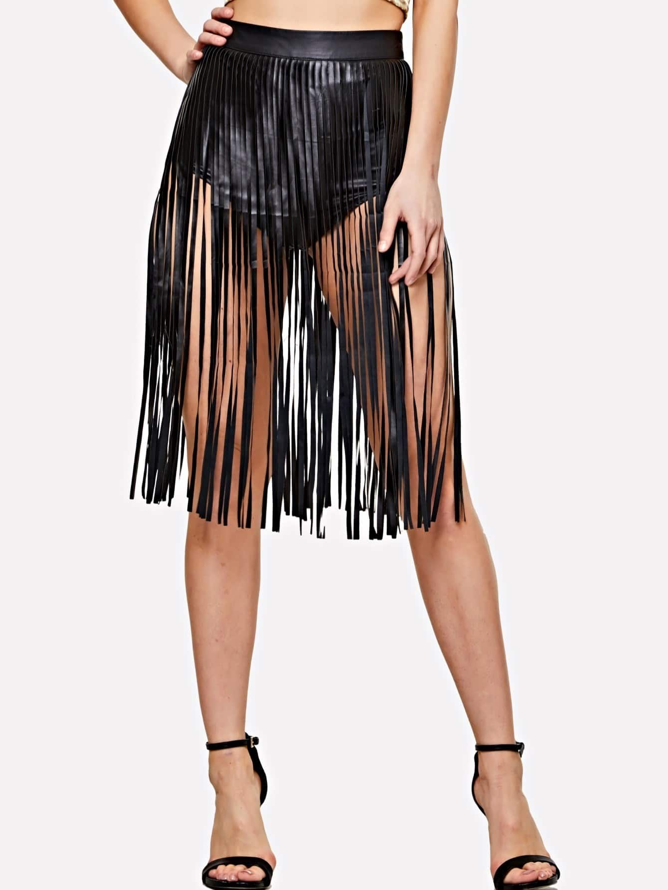 Faux Leather Fringe Skirt christine darvin new ego men