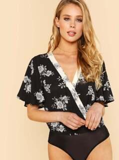 Deep V Neckline Surplice Floral Print Bodysuit BLACK
