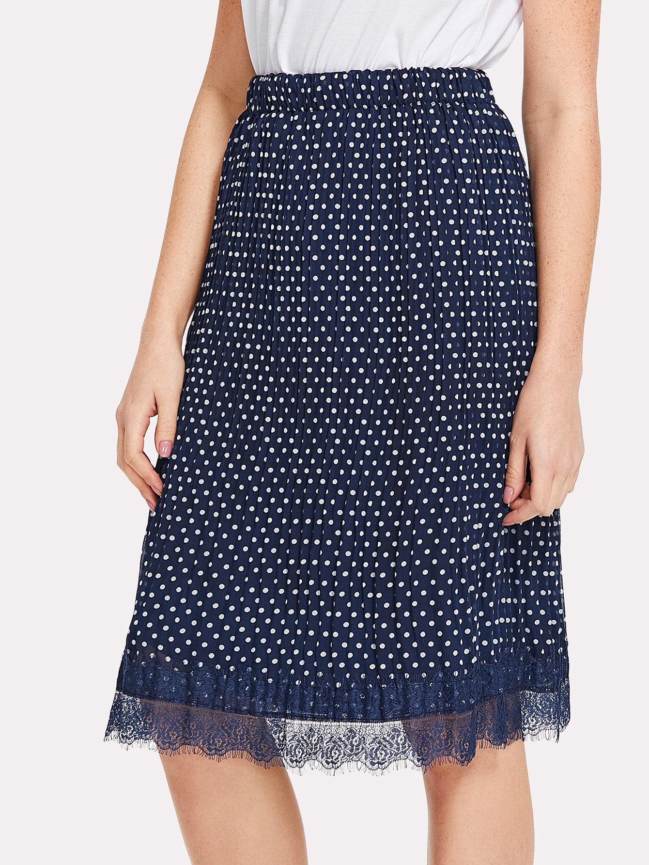 Lace Hem Polka Dot Pleated Skirt single breasted polka dot pleated skirt