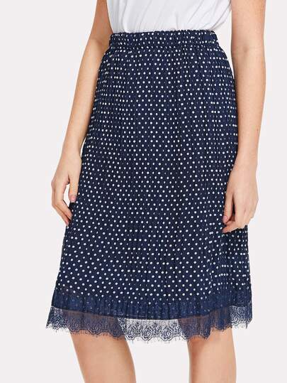 Lace Hem Polka Dot Pleated Skirt