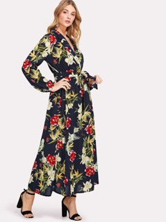 Surplice Wrap Botanical Dress