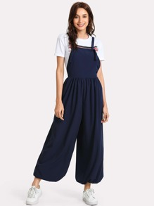 Elastic Hem Wide Leg Jumpsuit With Tied Strap