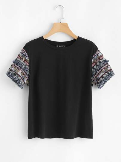 Coin Fringe Trim Embroidered Jacquard Sleeve Tee