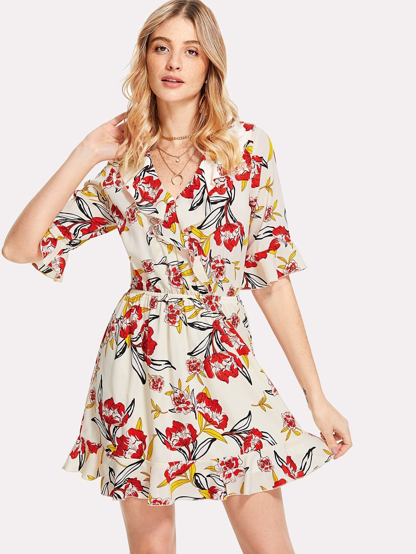 Overlap Front Ruffle Detail Botanical Dress frill detail bishop sleeve tiered botanical dress