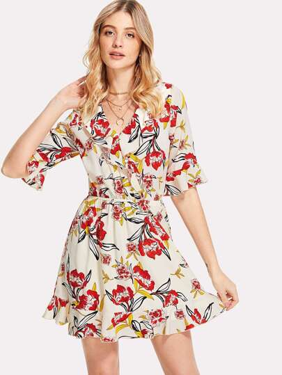 Overlap Front Ruffle Detail Botanical Dress