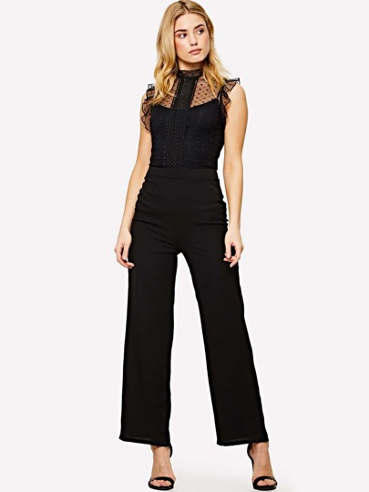 Lace Applique Dot Mesh Bodice Jumpsuit