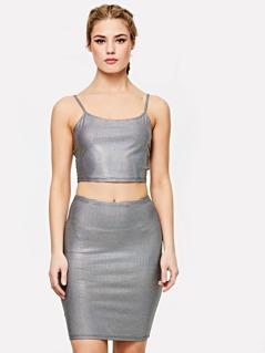 Metallic Crop Cami Top & Skirt Set