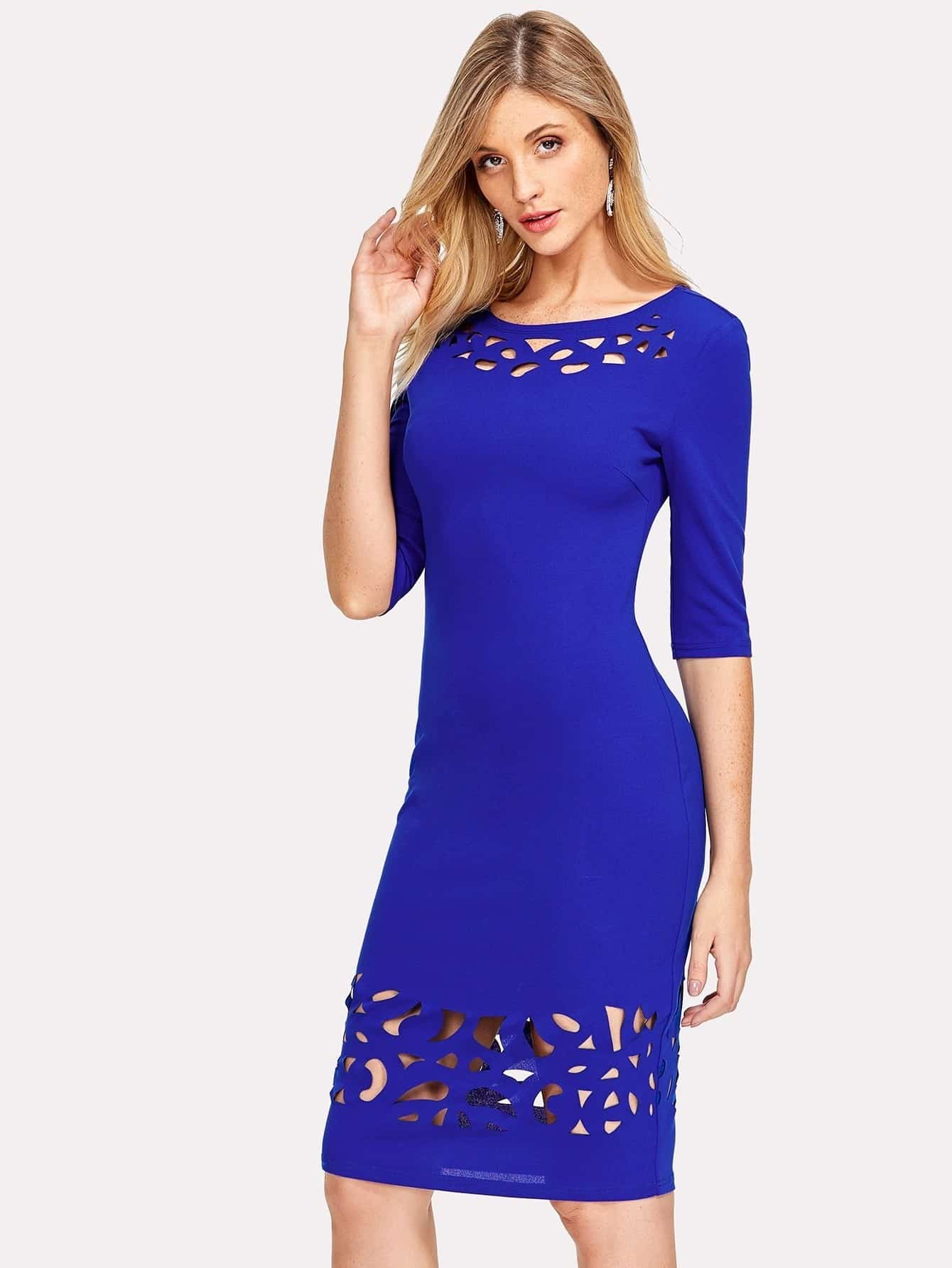 Cut Out Detail Pencil Dress cut out detail fit and flared sleeveless dress