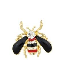 Black Enamel Rhinestone Honeybee Brooch