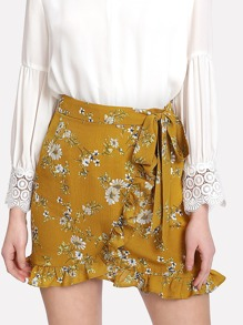 Frill Trim Knot Front Wrap Skirt