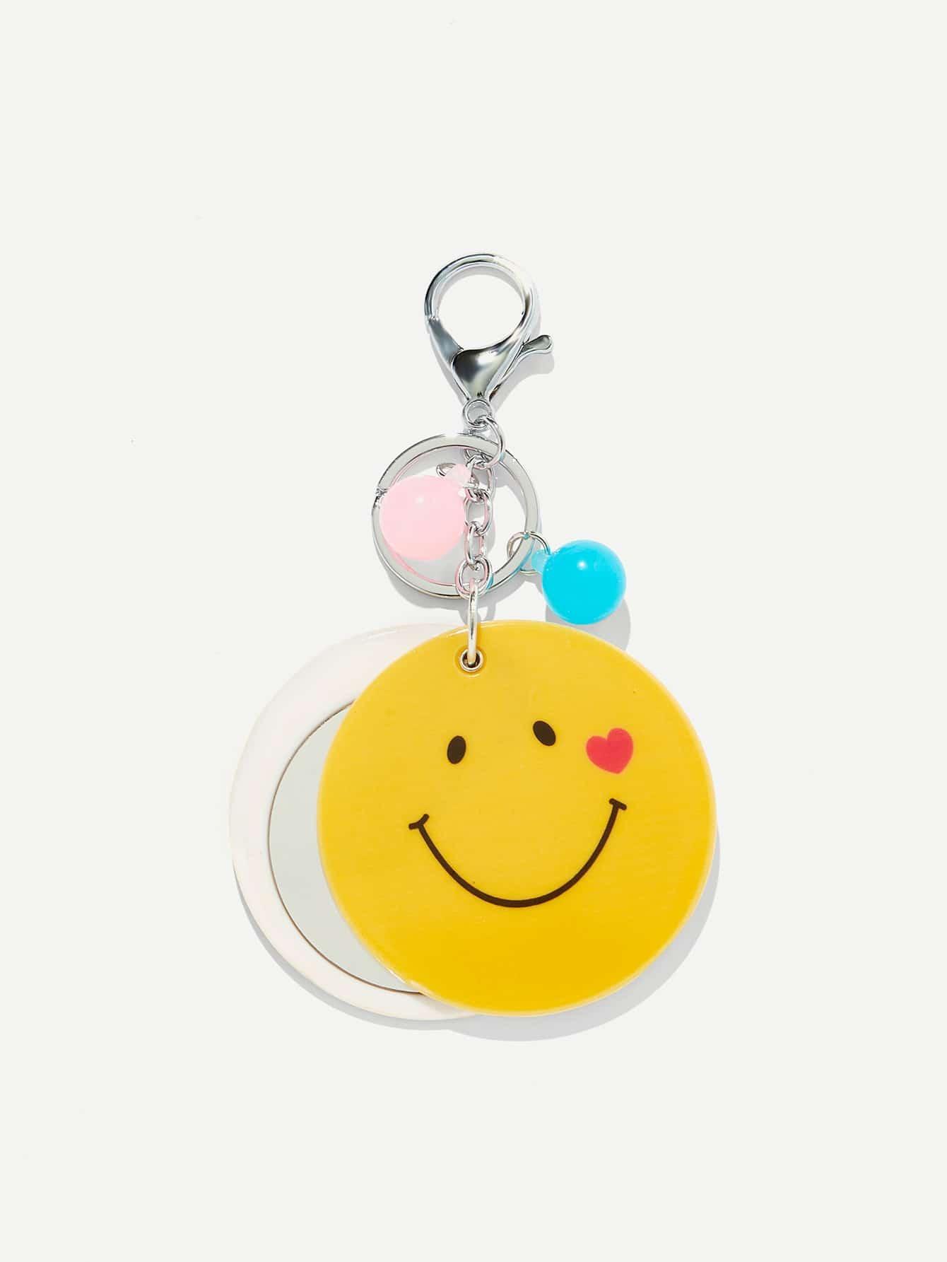 Random Color Ball Round Emoji Keychain