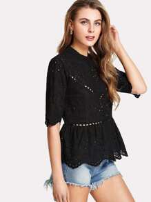 Ruffle Hem Eyelet Embroidered Top