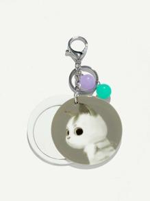 Round Cat Keychain