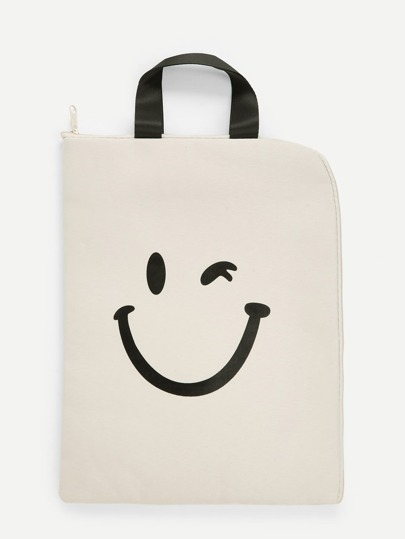 Cartoon Pattern Canvas File Folder Bag