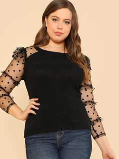 Plus Frilled Dot Mesh Sleeve Fitted T-shirt