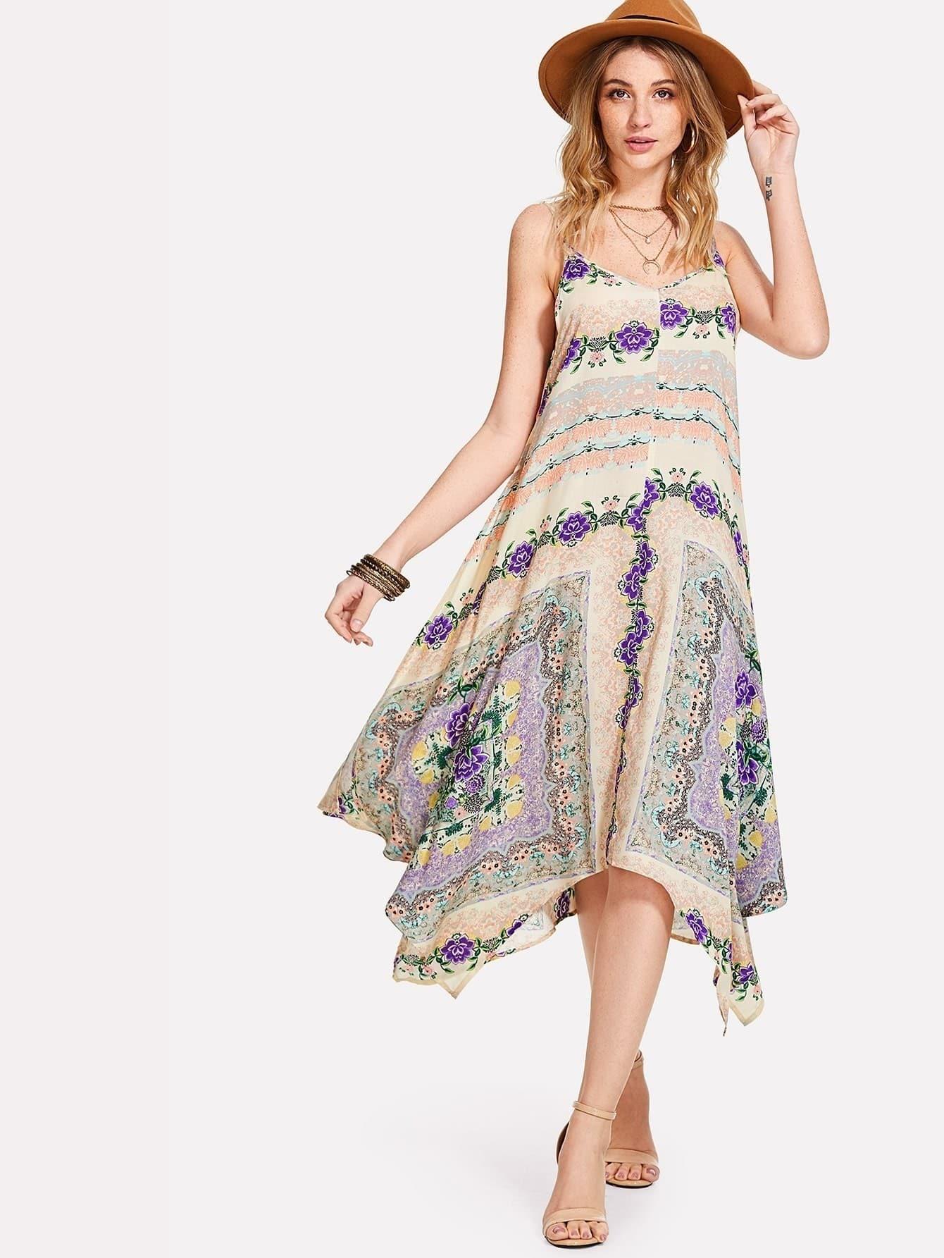 Flower Print Hanky Hem Swing Cami Dress high slit hanky hem metallic halter dress