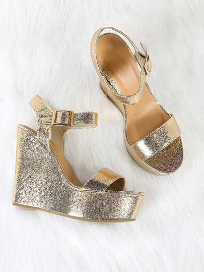 Cracked Metallic Buckled Ankle Strap Platform Wedge Sandal GOLD