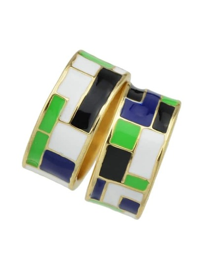 Green-8 Enamel Geometric Pattern Finger Rings