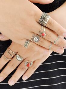14 Pcs/Set Red Stone Sun Knuckle Ring