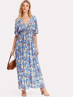 Flower Print Lace Insert Kimono Dress