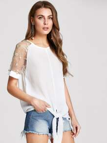 Embroidered Mesh Raglan Sleeve Top