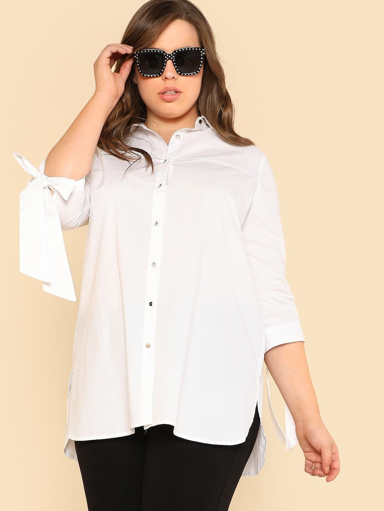 Tie Sleeve Button Up Longline Blouse inc new bright white women s size small s tie front button up blouse $59 461