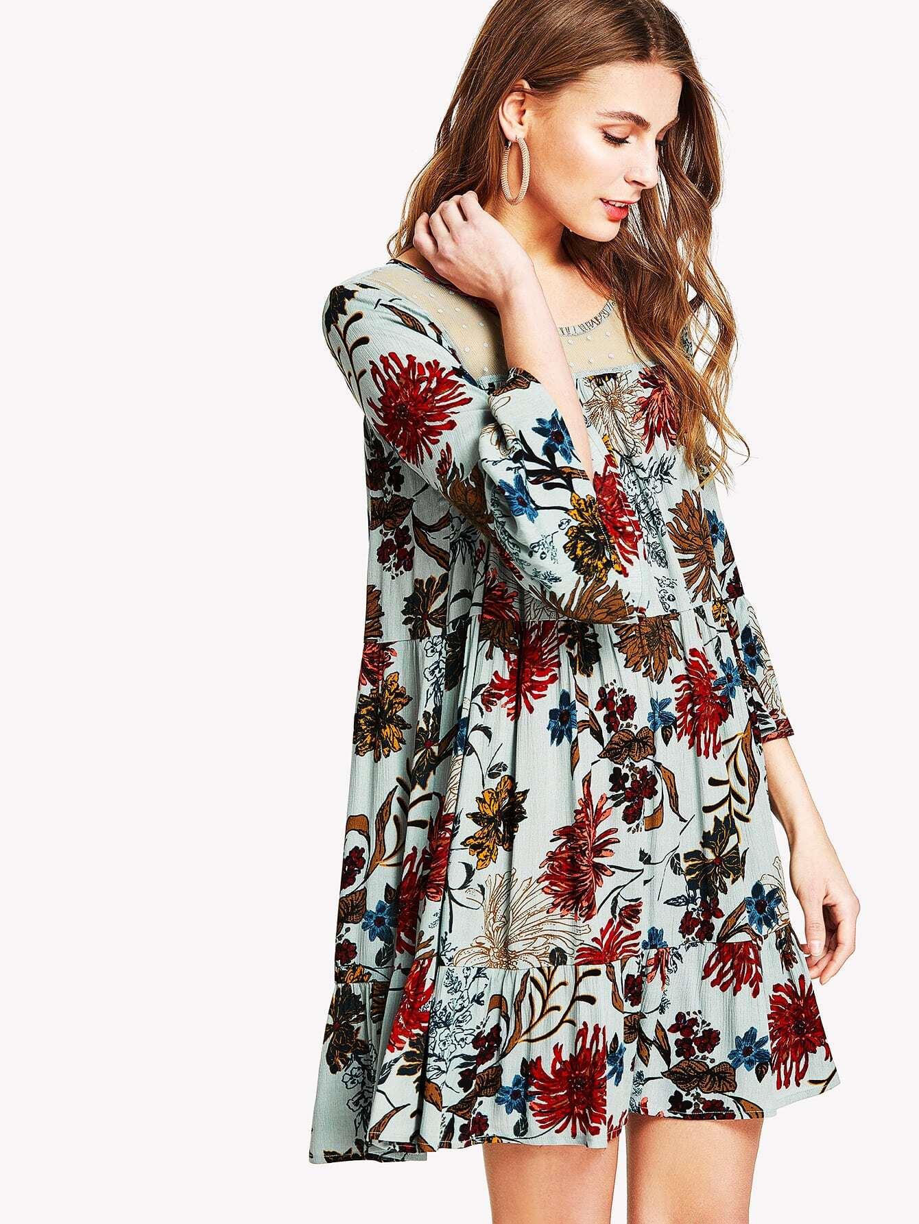Dot Mesh Insert Floral Ruffle Dress ruffle mesh panel dress