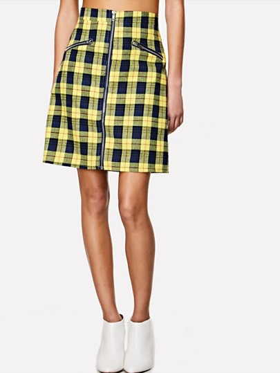 Check Plaid Zipper Front Skirts
