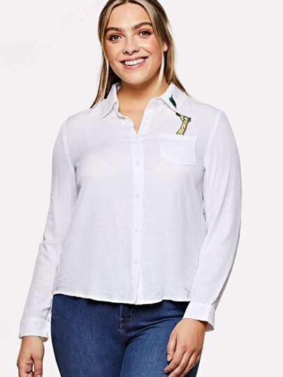 Single Pocket Embroidered Dip Hem Shirt