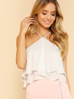 High Neck Zipped Back Flowy Top OFF WHITE